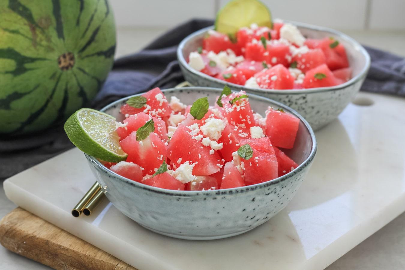 sallad vattenmelon feta mynta lime