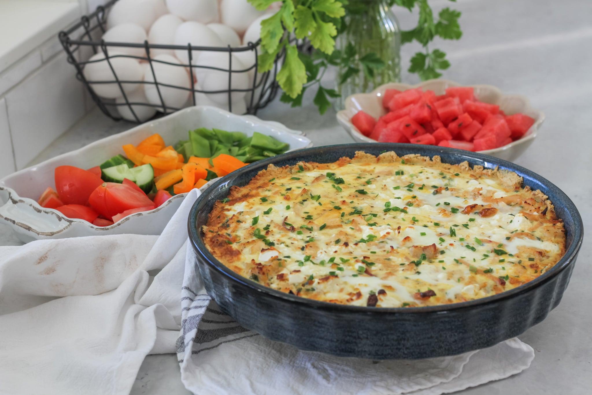 Glutenfri paj med kyckling, fetaost & gräslök